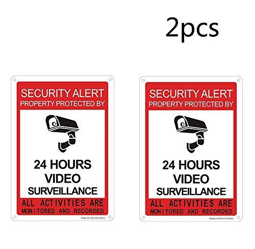 Set van 2 of 4 Aluminum Security Camera Sign 24 uur CCTV Sign, Waarschuwing 24 uur video opname Sign, Metalen CCTV Tekenen voor Home Office Shop School Cafe Restaurant Hotel Veiligheidsbord 180mm*250mm Rood-24 uur/2 stks