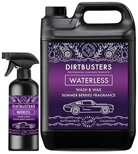 Dirtbusters Cherry - Producto pulverizador para lavado y encerado de coches sin agua con cera polimérica para una limpieza profesional sin marcas (5 litros + 500 ml)