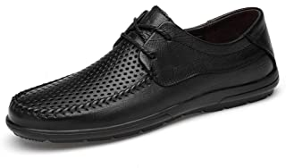 XUJW-Shoes, Mens Driving Loafers Casual Boat Shoes for Men Lace Up Anti Slip Leather Hollow Out Super Flexible Experienced Stitched Lug Sole Round Toe Classic (Color : Black, Size : 7.5 UK)