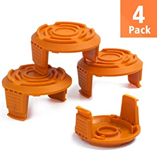 FutureWay Trimmer Replacement Spool Cap Covers and Spring Compatible with Worx WG163 WG155 WG180 WG175 WG160, Weed Easter String Autofeed WA6531GT Cap, 4 Pack