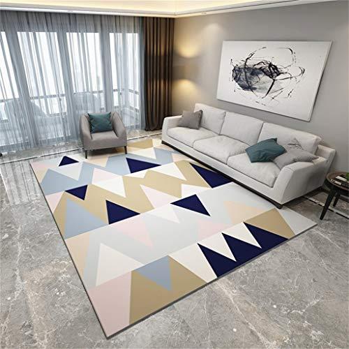 ZHAS Deko-Florteppich Moderner Florteppich für Wohnzimmer - Buntes Dreiecksmuster - Borteppich für Schlafzimmer Esszimmer - Kurzfloriger Designer-Teppich Weich | rutschfest | Ohne Milben | Pflege