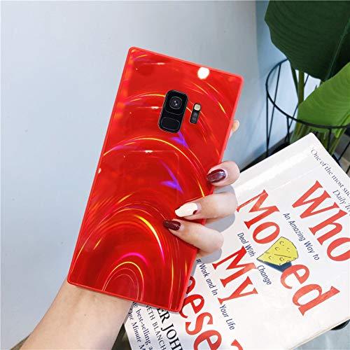 Herbests Kompatibel mit Samsung Galaxy S9 Hülle Glitzer Glänzend Kristall Aurora Bunte Weich Silikon Handyhülle Ultra dünn Schutzhülle TPU Bumper Handytasche Crystal Case Cover,Rot