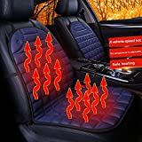 Car Heating Seat Pad, SUNJULY 1 Pair Universal Heated Car Seat Cover Temperature Adjustable Anti-slipping with Constant Temperature Protection Function Safe for Driving, Winter(Black)