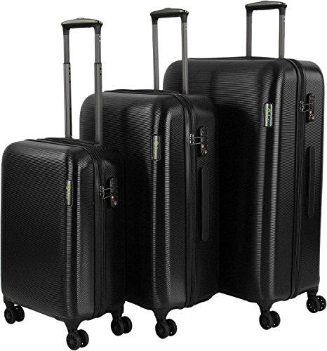 d & n Travel Line 8200 4-rollen kofferset 2-delig, zwart (zwart) - 8200-01