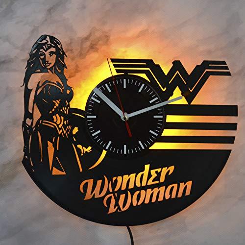 Wonder Woman DC Comics Superhero Design Vinyl Clock Led Light Wall Clock Handmade Artwork Wall Clock Unique Home Wall Decor Idea Valentines Present for Teens Youth Girls