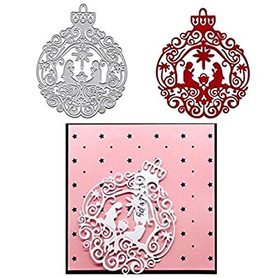 Nativity Ornament Cutting Dies,Letmefun Metal Cutting Dies Stencils Scrapbooking Steel Craft Die Cuts Paper Art Emboss Card Making Stencil 103x128mm