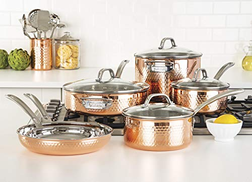 Viking Culinary 3-Ply Stainless Steel Hammered Copper Clad Cookware Set, 10 Piece
