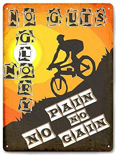 Mountain Bike Bicycle Extreme Racing Motivation Art Metal Plaque Club Family Garage Wall Decoration Bar Cafe Kitchen Art Tin Sign 8X12 inch