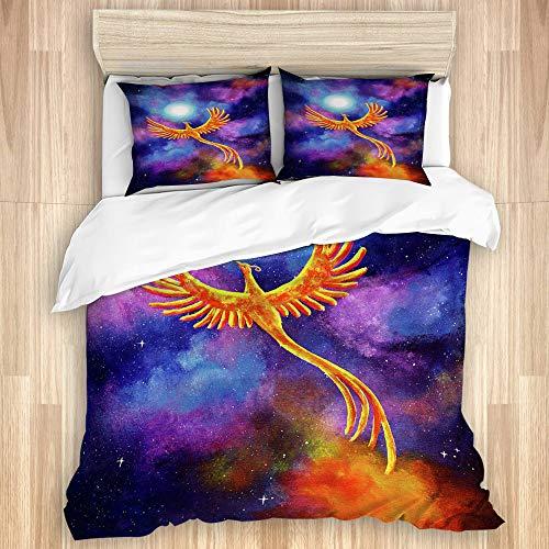 KASMILN Bedding Bettwäsche,Fantasie Vogel Phoenix Laura milnor Iverson Phoenix aufgehende Firebird mondnacht Sterne kosmisch,Mikrofaser Bettbezug 200x200cm,Kissenbezügen 2(50x80cm)