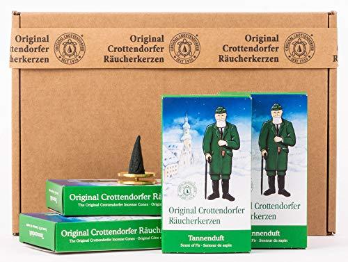 Crottendorfer Räucherkerzen - Tannenduft 4er Pack - in Geschenkverpackung mit Messingteller (4 x 24 Stück)