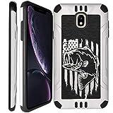 CasesOnDeck White Case for [Samsung Galaxy J7 (2018), J7 Crown, J7 Top, J7 Refine, J7 Aero, J7 Aura, J7 Star] - White Dual Layer Case Hard Plastic Exterior/Interior Bump TPU (Fishing USA Bass)