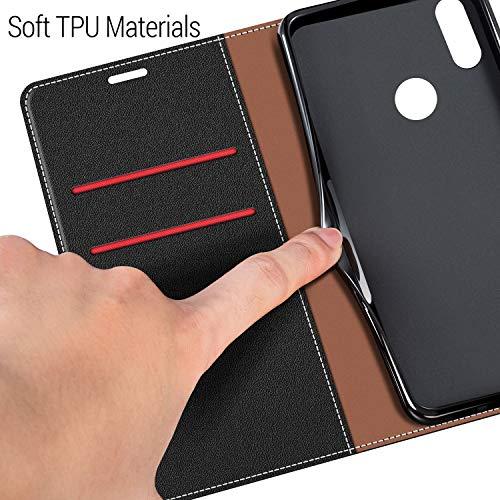 COODIO Handyhülle für Huawei Y7 2019 Handy Hülle, Huawei Y7 2019 Hülle Leder Handytasche für Huawei Y7 2019 Klapphülle Tasche, Schwarz/Rot - 4