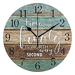 J JOYSAY Texture Wooden Colorful Round Wall Clock for Kitchen Bathroom Silent Non Ticking Decorative Wall Clock Battery Operated Home Office Art Clock, 9.5 Inch