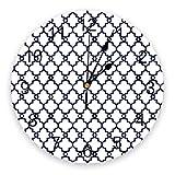 Relojes de Pared No Ticking Tradicional Quatrefoil Patrón de celosía Blanco Blanco Cerámica Cerámica Redondo Decoración de Reloj con Gran árabe para Cocina, Sala de Estar, Oficina, Dormitorio, Aula
