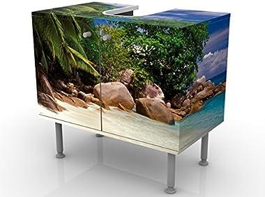 Meuble sous Vasque Design Honeymoon in Hawaii 60x55x35cm, Petit, 60 cm de Large, réglable, Table de lavabo, Armoire de lavabo