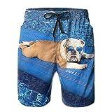 GOSMAO Bulldog inglés con Gafas de Sol, Tomar el Sol en la Piscina, Playa, Pantalones Cortos, Pantalones, bañadores