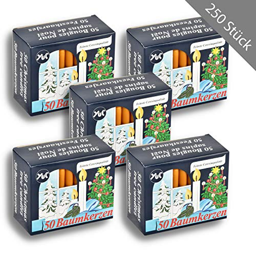 HSM 250 x Baumkerzen Pyramidenkerze Baumlicht Natur Weihnachtsbaum Kerzen Christbaumbeleuchtung