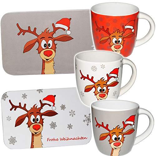 alles-meine.de GmbH 2 TLG. Set _ Henkeltasse / Kaffeetasse + Frühstücksbrettchen - Didi das kleine Rentier - groß - 320 ml - Porzellan / Keramik - Teetasse - Glühweinbecher - Glü..