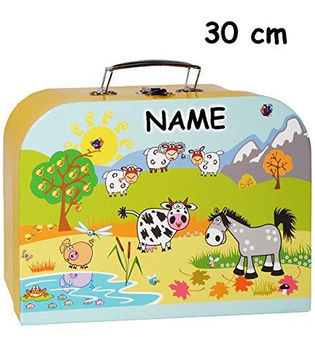 alles-meine.de GmbH 1 Stück _ Koffer / Kinderkoffer - GROß -  Tiere - Bauernhof / Schafe  - incl. Name - 30 cm - Pappkoffer - Puppenkoffer - Kinder - Pappe Karton - Tier - Baue..