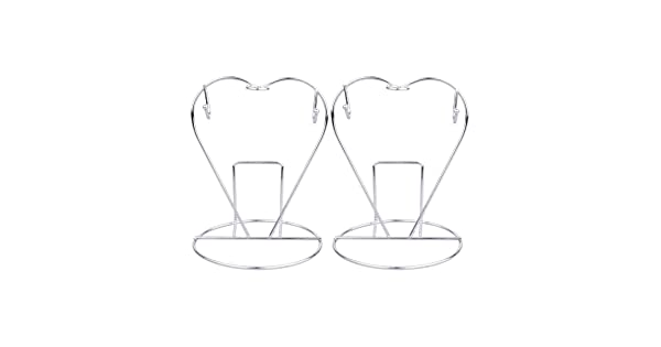 Silver Toyvian 2Pcs Stainless Steel Cup Plate Holder Heart-Shaped Coffee Mugs Hanging Stand Kitchen Organizer Drying Shelf for Kitchen Home Bar