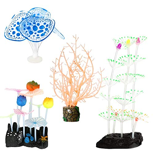 Welltop Aquarium Dekorationen 4er-Pack Glowing Effect Aquarium Dekor, mit Harzbasis, Wasserpflanze, für Aquarium- und Aquariumlandschaft