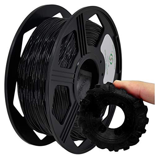 YOYI 3D Printer Filament,TPU Flexible Filament 1.75mm 0.8kg Spool Dimensional Accuracy +/- 0.03 mm,104% Europe Raw Material(black)