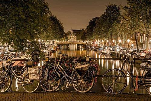 500 piezas de rompecabezas para adultos Amsterdam Bicycles Channels Night Love Juegos de rompecabezas para la familia, desafío para niños