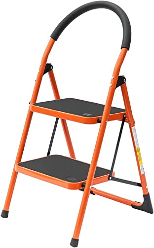 discount LUISLADDERS 2 Step online sale 2021 Stool Folding Lightweight Step Ladder Steel Ladder with Hand-Grip and Non-Slip Wide Pedal 330lbs EN131 outlet online sale