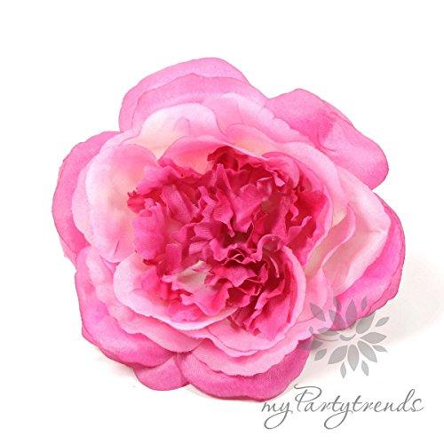 myPartytrends Elegante Haarrose in pink / telemagenta (Ø 12 cm; Höhe 4,5 cm) (Ansteckrose, Haarblume mit Schnabelspange, Haarschmuck)