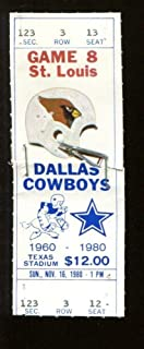 1980 Dallas Cowboys v St. Louis Cardinals Ticket 11/16 Texas Stadium 52114