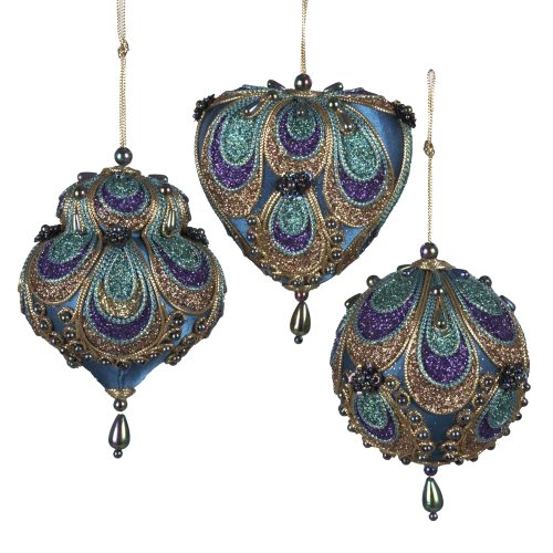 Kurt Adler Satin Fabric with Gold, Purple and Green Glitter Ornament Set