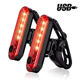 USB Rechargeable LED Bike Tail Light 2 Pack, Bright Bicycle Rear Cycling Safety