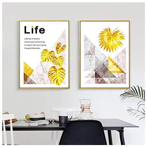 HSFFBHFBH Cuadro en Lienzo Mármol Abstracto con Pan de Oro Pintura Cartel e impresión Arte de la Pared Sala de Estar Decoración nórdica Pintura 60x90cm (23.6