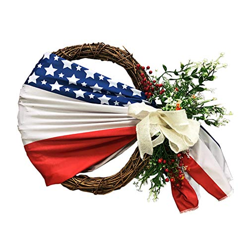 æ— Patriotic Wreath, 15.7in Handmade Spring Wreath for Front Door, Artificial Garland Summer Wreaths with Flag for 4th of July Decorations, Wall Window Decor