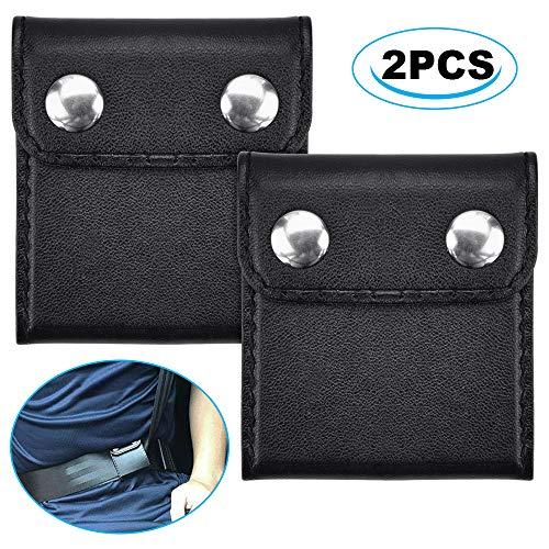SNAGAROG 2 Stück Universal Auto Sicherheitsgurt Clip Positionierer Auto Gurtversteller Leder Sicherheitsgurt Versteller zum Entspannen von Schulter und Nacken (Schwarz)