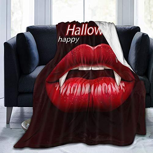 HUAYEXI Manta de Franela Suave,Horrible Halloween Spider Sex Vampire Woman Labios Rojos con Colmillos,Cama de Camping para sofá 127x102cm