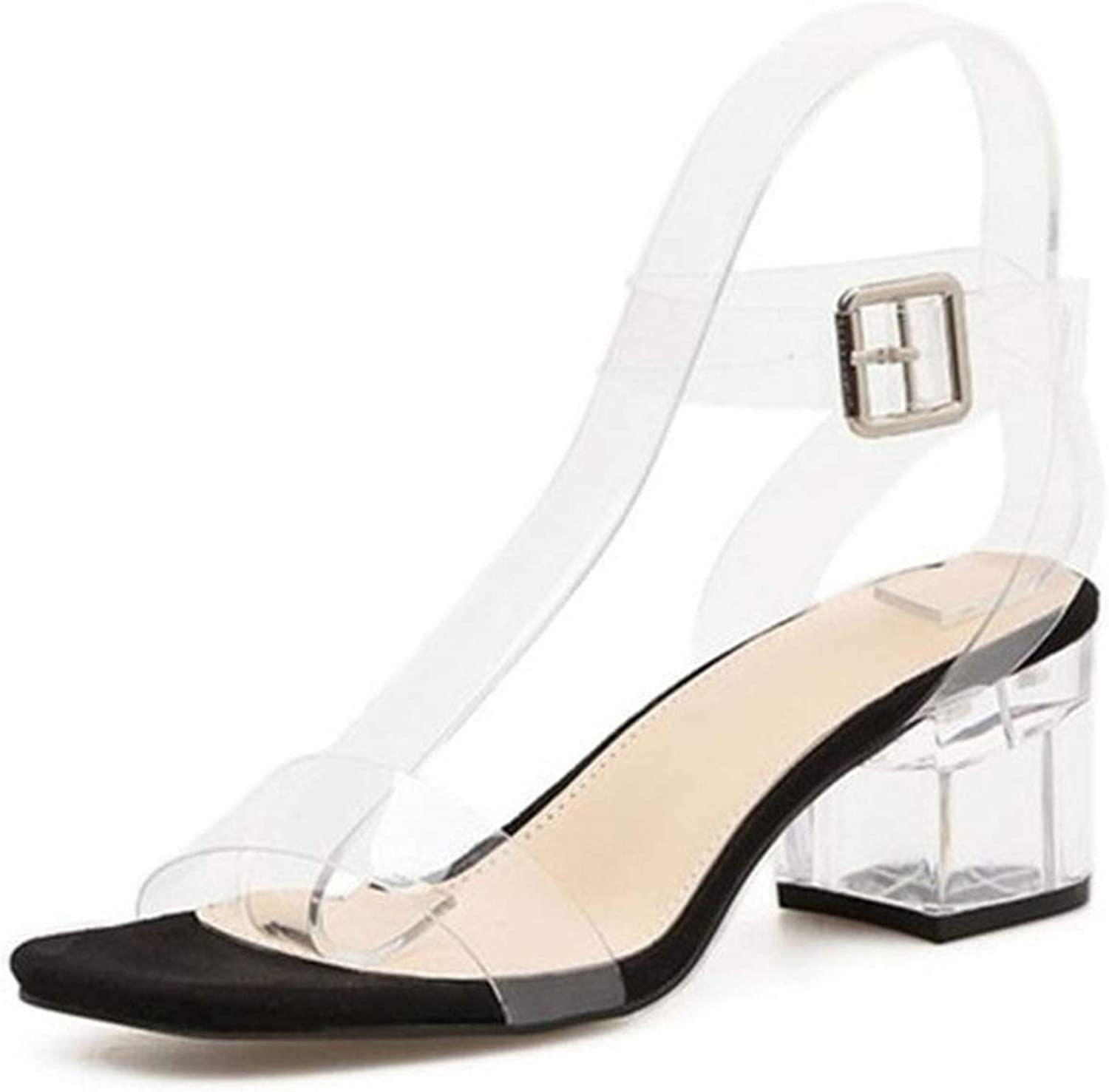Sunshine-Family PVC Transparent Heels Women's Summer shoes Sexy Transparent Gladiator Sandals Fashion Clear Heels for Women shoes Jelly