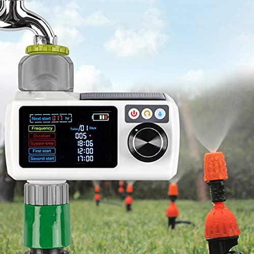 BIWASimple Reloj Riego Automatico Exterior, Energía Solar Temporizador Riego, Programador Riego Jardín Temporizador, Fácil de Usar, Sensor de Lluvia, Tiempos de Riego Flexibles