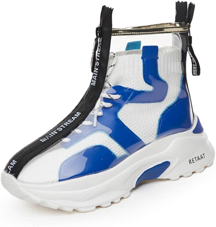 Transparent Rain Boots Women Waterproof Ankle Booties Lace Up Zipper Platform Flat Fashion Sneakers