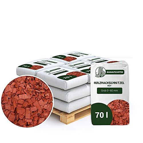 Holzhackschnitzel Rot Kiefer Holz Mulch Garten Grob 0-60mm 70l Sack x 18 STK (1260 L)