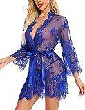 BESDEL Damen Spitze Kimono Bademantel Babydoll Dessous Mesh Nachthemd Royal Blue Small