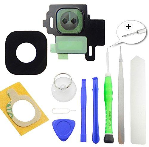 TOKA-VERSAND® - Kamera Glas Abdeckung Premium [echt Glass] für Samsung Galaxy S8 [G950F] mit Rahmen und Kleber [Dichtung] sowie 8X teiliges Werkzeug [magnetisch] 11in1 Schwarz (Midnight Black)