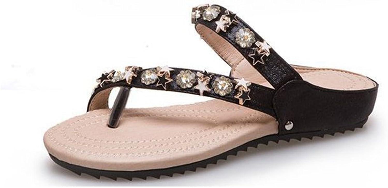 GIY Women's Fashion Sparkly Flat Flip Flops Sandals Comfort Platform Studded Star Summer Beach Thong