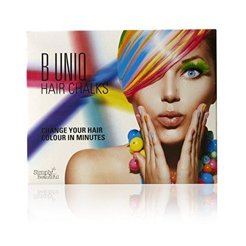 B Uniq - Haarkreide-Set für Kinder & Teenager - Auswaschbar und ungiftig - ideal für Halloween, Fasching, Partys, Festivals - 24 Farben