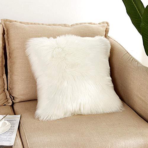 ColdWhite 人造毛皮の枕カバーー 枕カバーーが超柔らかいクッションカバーー 枕の内側のないウールのようなスクエアスローピローケース 白 45 * 45CM 白