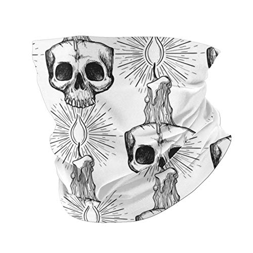 Face Mask Balaclava Skull and Candle Occult Anti Dust Wind Sun Protection Neck Gaiter Scarf for Man Woman Motocycle Cycling Outdoor Sports