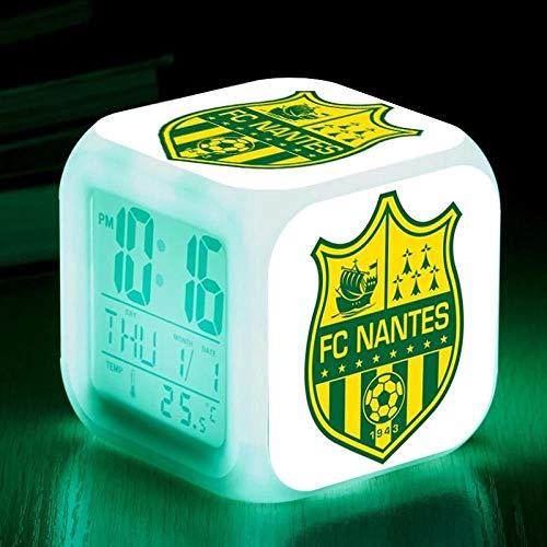 Réveils numériques pour les filles Logo de l'équipe de France Ligue 1 club de football Cube LED de nuit brillante avec enfants légers Réveillez-vous l'horloge de chevet cadeau de Noël