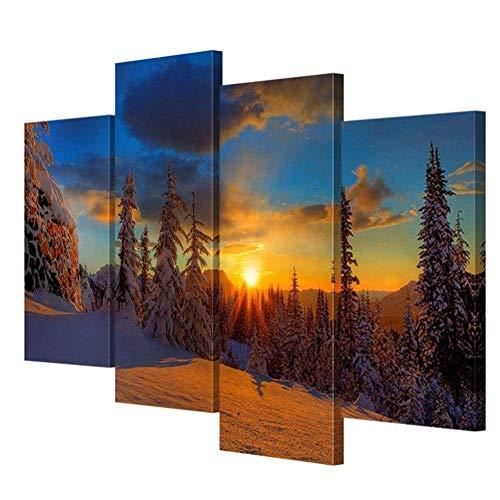 RR&LL Hang-Dressers Moderne Giclée-Leinwanddrucke Kunstwerk Wandmalereien Winterwald Sonnenaufgang Wohnzimmer Wand Landschaftsdekoration Gemälde (Größe: B)
