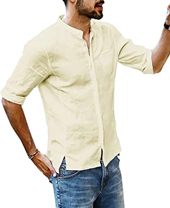 Hooleeger Camisa de lino para hombre, cuello alto, manga 3/4, camisa Henley, camiseta de manga corta, para verano, holgada