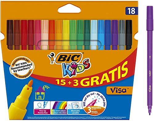 BIC Kids Visa Rotuladores Punta Fina - Colores Surtidos, Blíster de 18 Unidades